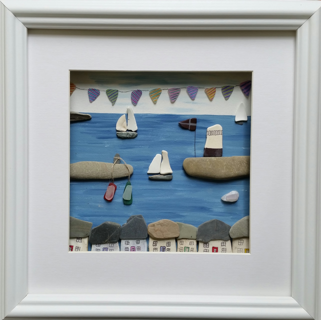Pebble Art, Pebble Pictures, Beach Art, coastal, Wall Art, Mevagissey, Cornwall,