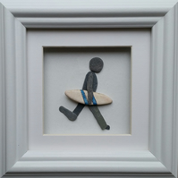 Father's Day Gift, Birthday Gift, Pebble Picture, Surfer, Wall Art, Picture