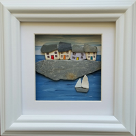 Cornish Cottages on the Quayside, Pebble Art, Pebble Pictures