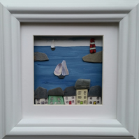 Pebble Art Picture. Mevagissey, Cornwall. Sea Pottery Cottages, Picture Frames,