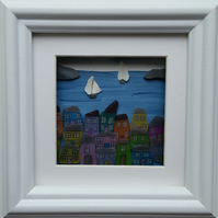 Sea Glass village, Sea Glass Art, Sea Shell Sails, Cornish Harbour Scene,