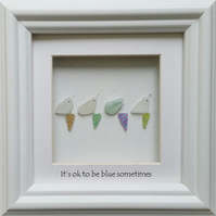 Sea Glass Birds on Bunting, Pebble Art Picture, Wall Art, Home Decor,