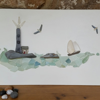 Pebble Art, Sea Glass Art, ...On a Sea Glass Ocean