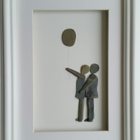 Loving Couple, Pebble Wall Art, Cornish Pebble Art, Made in Cornwall, Beach Art,