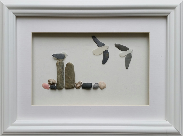 Sea Glass Seagulls on Posts, Coastal Decor, beach Art, Cornish Pebble Art,