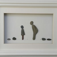 Pebble Art Family, coastal wall decor, beach art, pebble picture, cornish pebble