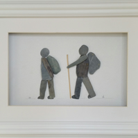 Pebble Art Picture, Walker, Hiker, Cornish Pebble Art, Father's Day Gifts,
