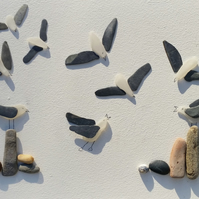 Lighthouse on a Sea Glass Ocean, Sea Glass Art, Cornish Pebble Art, Beach Art,