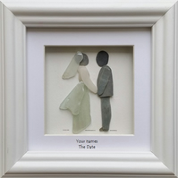 Wedding Gift, Bride & Groom, Pebble Art Picture, Sea Glass, Picture Frames,