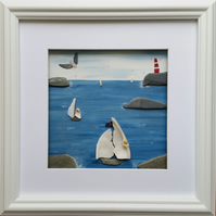 Yachts with Sea Shell Sails, Cornish Pebble Art, Sea Glass Art, Beach Decor