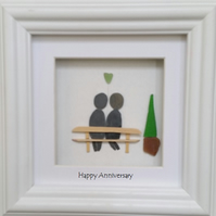 Sea Glass Art, Pebble Art,  Anniversary Gift, Pebble Couple,