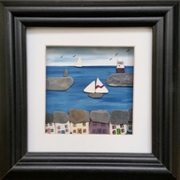 Cornish Harbour , Sea Pottery Yachts, Cornish Cottages, Box Frame, Picture Frame