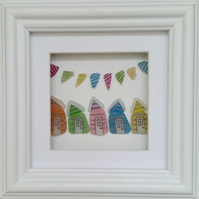 Wonderfully Wonky Sea Glass Beach Huts & Bunting, Sea Glass Art,