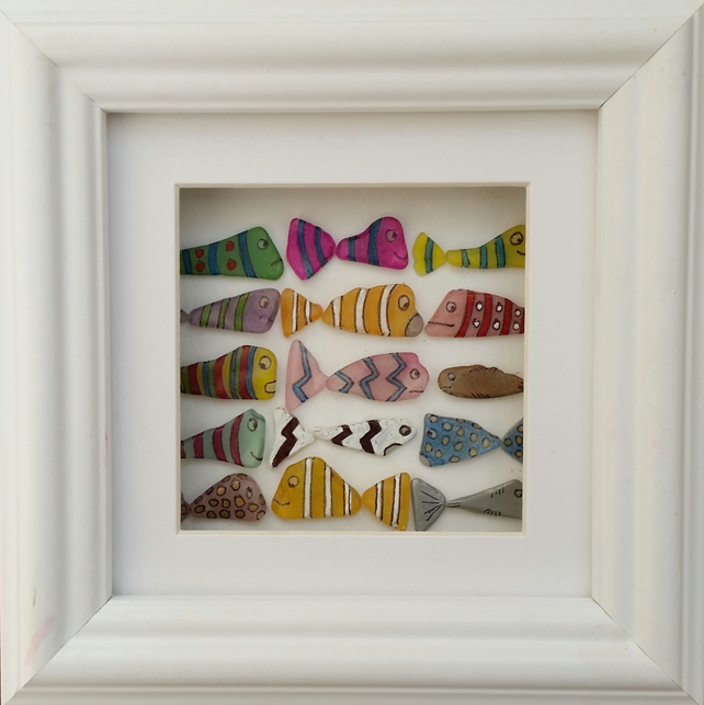 Colourful Sea Glass Fish, Sea Glass Art, Stained Glass, Mosaics, Cornish Gifts,
