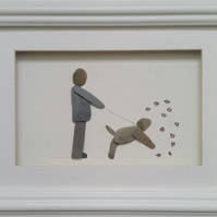 Pebble Picture, Autumn Male Dog Walker, Christmas Gift for Dada, for him