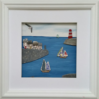 Cornish Harbour Scene, Patterned Sea Pottery Yacht Sails, Pebble Art Picture