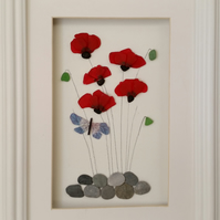 Stained Glass, Sea Glass Poppies, Sea Glass Art, Flowers, Picture Frames,
