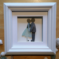 It Started with a Kiss, Pebble Art, Sea Glass Art, Made in Cornwall, Beach Decor