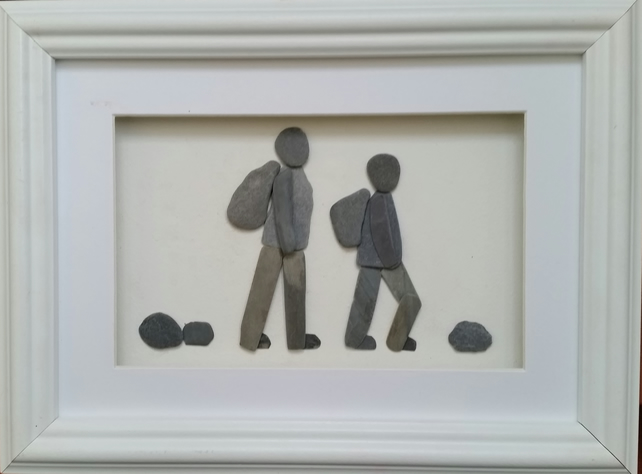 Pebble Art Picture, Walker, Hikers, Cornish Pebble Art