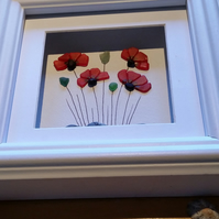 Sea Glass Poppies, Sea Glass Art, Mother's Day Gift,