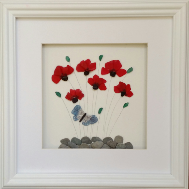Sea Glass Poppies, Stained Glass Flowers,  Unique Mother's Day Gift