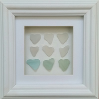 Sea Glass Hearts, Wedding Gift, Anniversary, Mother's Day, Cornish Pebble Art,