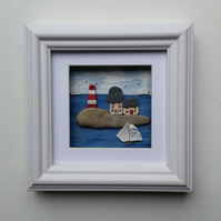 Cornish Cottages on the Quayside, Pebble Art, Pebble Pictures, Made in Cornwall