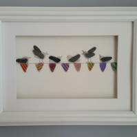 Seagulls on Sea Glass Bunting, Sea Glass Art, Picture Frame, Beach Art,