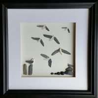 Sea Glass Seagulls in Flight, Made in Cornwall,