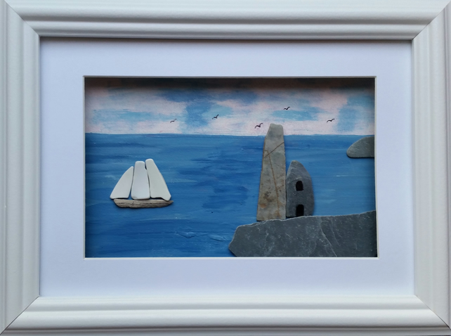 Cornish Tin Mine and Tall Ship, Cornish Pebble Art, Sea Pottery, Beach Art,