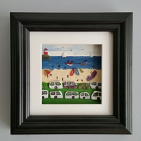 Sea Glass Art, Summer Holiday Beach Scene, Picture Frames, Box Frames,