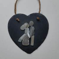 Wedding Gift, Anniversary Gift, Pebble Art, Sea Glass Art, Slate Heart