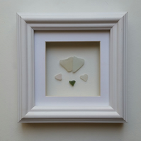 Sea Glass Hearts, Wedding Gift, Anniversary Sea Glass Art, Cornish Pebble Art,