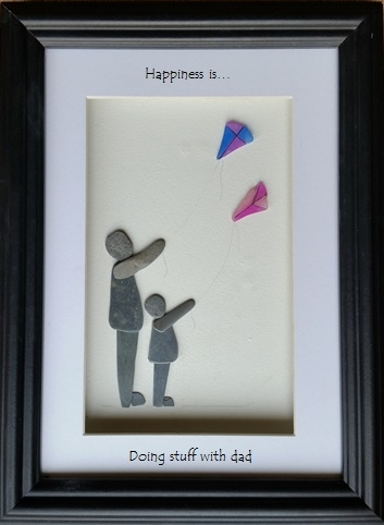 Fathers Day Pebble Art, Pebble Picture, Kite Flyers, Sea Pottery Kites,