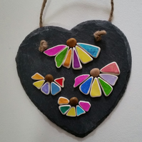 Slate heart, Colourful Sea Pottery, Abstract Art, Cornish Gifts, Cornwall