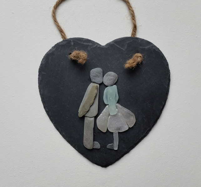 Valentine Gift, Pebble Art Kissing Couple on a Slate Heart