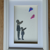Pebble Art Picture, Mother and daughter flying kites
