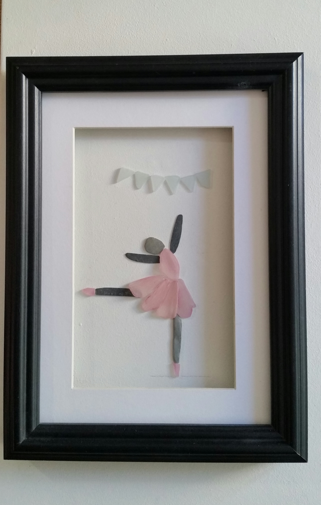 Pebble Art Picture, Ballerina in a Pink Sea Glass Tutu