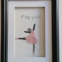 Pebble Art Picture, Ballerina in a Pink Sea Glass Tutu, Framed Art for Girls