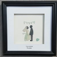 Wedding Day Portrait, bride and groom, wedding gift, pebble picture, sea glass