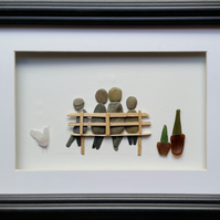 Pebble Art Picture, Family of Four on a Bench, Made in Cornwall