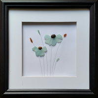 Sea Glass Flowers, Blue, Framed Art Wall Decor, Made in Cornwall, Cornish Gifts