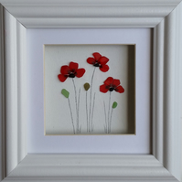 Sea Glass Poppies, Stained Glass Poppies, Cornish Pebble Art, Made in Cornwall,