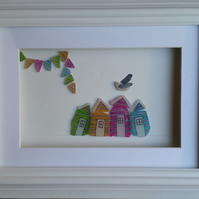 Sea Glass Art, Beach Huts and Bunting with a Sea Glass Seagull