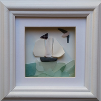 Tall Ship with Sea Pottery Sails, Cornish Gifts