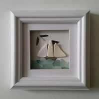 Sea Glass Art, Tall Ship on an Ocean of Blue Sea Glass
