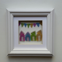 Sea Glass Beach Huts and Bunting, Unusual Gift Framed Wall Art Unique Gift