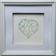 Sea Glass Heart made from Sea Glass Hearts, Framed Wall Art Unique Gift