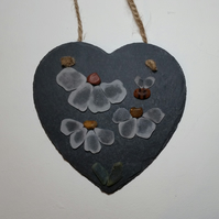 Sea Glass Daisies and Bumble Bees on a Slate Heart.