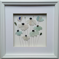 Sea Glass Art, Sea Glass Flowers, Framed Wall, Made in Cornwall